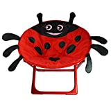 Lady Bug Comfortable Kids and Toddler Saucer Chair | Folding Moon Chair for Indoor and Outdoor