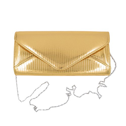 Bag Gold Shine Handbag Elegant PU Flap Evening Leather Envelope Textured Large Clutch xqOw7zqT