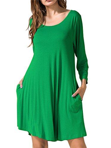 JollieLovin Women's Casual Swing 3/4 Sleeve Pockets T-Shirt Loose Dress (Forest Green, 2X)]()
