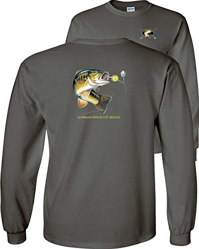 Fair Game Largemouth Bass Profile Long Sleeve T-Shirt-Charcoal-Youth Large