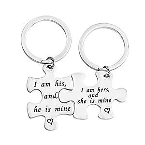 Amazon.com: gzrlyf de pareja llavero I Am su y él es Mine ...