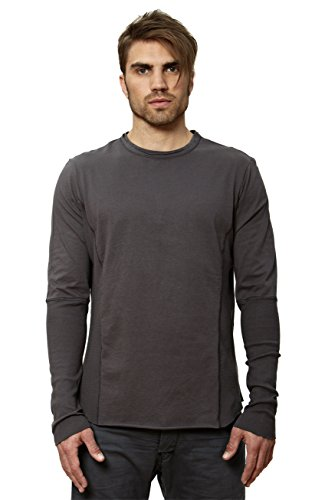 Edge Long Sleeve Thermal Shirt (UNCOMMON THRDS Mens Raw Edge Long Sleeve Thermal Contrst T-Shirt Grey - Medium)