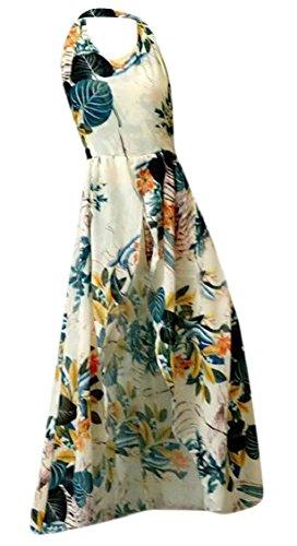 Floral Split Maxi Apricot Dress Jaycargogo Shorts Beach Halter Neck Backless Bohemia V Front Women Print 4686xqPwY