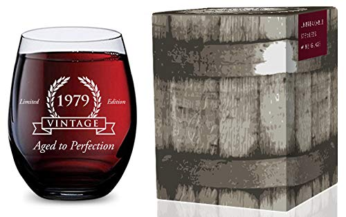 (Stemless Wine Glass for 40th Birthday (Vintage 1979) Made of Unbreakable Tritan Plastic and Dishwasher Safe - 16 ounces)