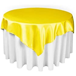 LinenTablecloth 60-Inch Square Satin Overlay Lemon