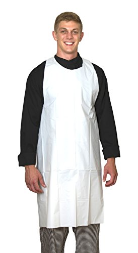 "Elara PA-H2846 ToughGrade Disposable Poly Apron with Extra-Long Ties, 28"" x 46"" inch, Food Service, Janitorial, Laboratory, Industrial Use, White, Heavy Weight 1.5 mil Plastic, Box of 50"