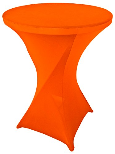 Goldstream Point Orange 32 Inch Round x 43 Inch Tall Spandex Cocktail Tablecloth Folding Cover Stretch