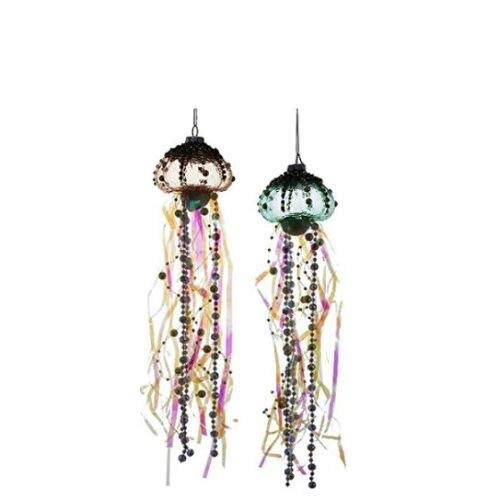 Coastal Beaded Jellyfish Glass and Ribbons Christmas Holiday Ornaments Set of 2
