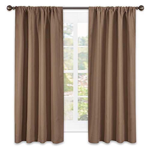 NICETOWN Kids Blackout Curtain Panels - Window Treatment Thermal Insulated Solid Rod Pocket Blackout Curtains/Drapes for Bedroom (Set of 2 Panels,42 by 63 Inch,Cappuccino)