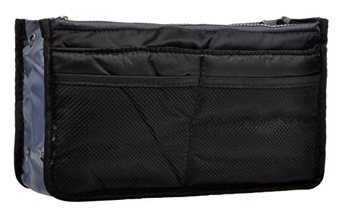 Vercord Purse Organizer Insert Handbag Organizer Nylon Bag in Bag 13 Pockets Black Medium ()