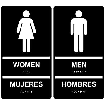 compliancesigns acrylic ada women men restroom sign set 11 x 6 in with english