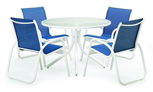 (Telescope Casual SET00901 Gardenella, White, Cobalt Outdoor Sling Dining Set)
