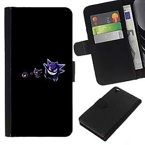 LECELL--Cuero de la tarjeta la carpeta del tirón Smartphone Slots Protección Holder For HTC DESIRE 816 -- Meter Monster Evil Purple --