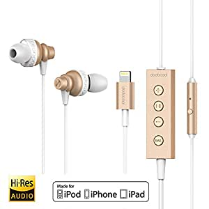 dodocool [Apple MFi Certified] Lightning Earphones Hi-Res Headphones with Mic & Remote Control for iPhone 8/ 8 Plus/ X/ 7/ 6s/ 7 Plus/ 6/ 5s/ SE, iPad, iPod and More