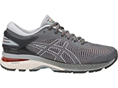 Designed for a lightweight ride, the GEL-KAYANO 25 women's running shoe guarantees maximum comfort and stability. FLYTEFOAM technology employs organic super fibers that resist compression, providing enduring bounce on even the longest runs. T...