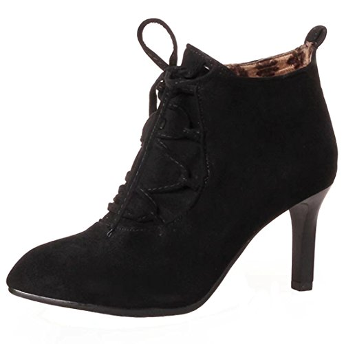 AIYOUMEI Womens Pointed Toe Thin Heel Booties Lace Up Ankle Boots Dress Shoes Black ERGYtMqh