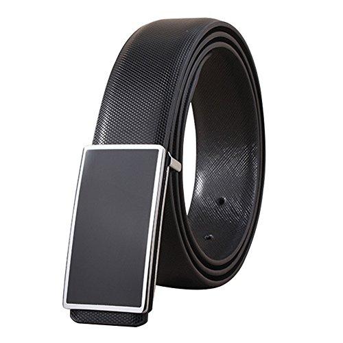 Mens Dress Black Plaque Buckle Business Leather Belt 35mm Width Waist Size 34-36