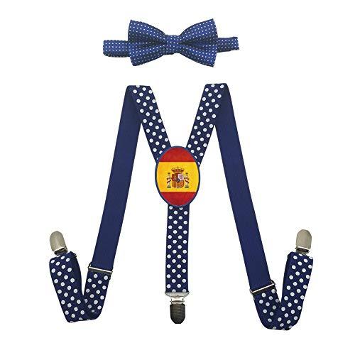 Qujki Spain Flag Art Suspenders Bowtie Set-Adjustable Length by Qujki