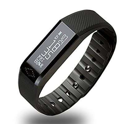 Toprime®Bluetooth 4.0 Wireless Touch Screen Smart Wristband Activity Tracker Calling/Messages/Sleep Quality Monitor For Andriod and iOS,Black
