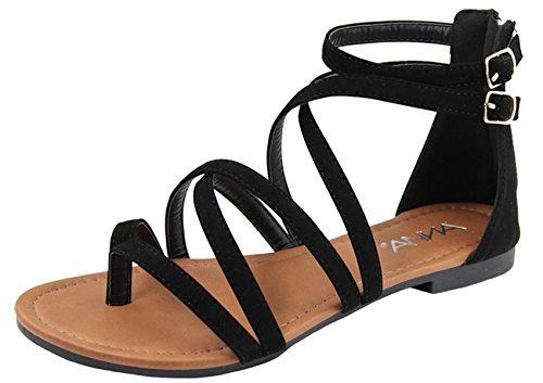 (Anna Shoes Women's Strappy Buckle Accent Zip Heel Flat Sandal (6.5 B(M) US, Black))