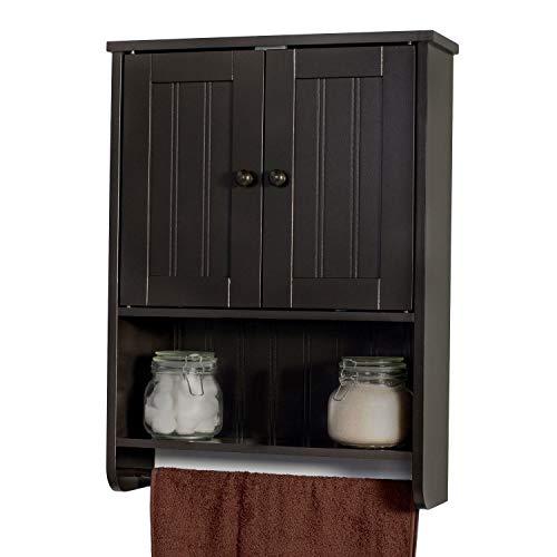 Espresso Wall Mount Bathroom Medicine Cabinet Storage Organizer Towel Bar
