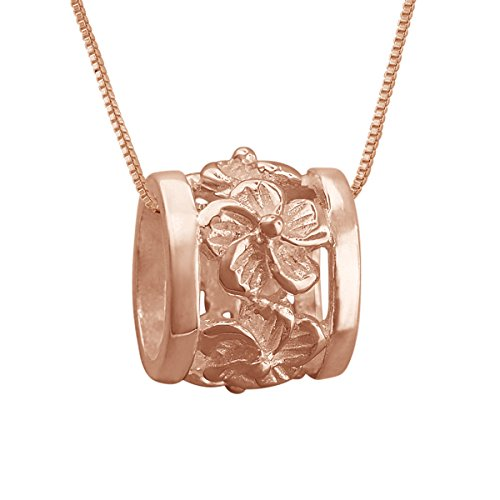 - 14kt Rose Gold Plated Sterling Silver Plumeria Bead Barrel Pendant Necklace, 16+2