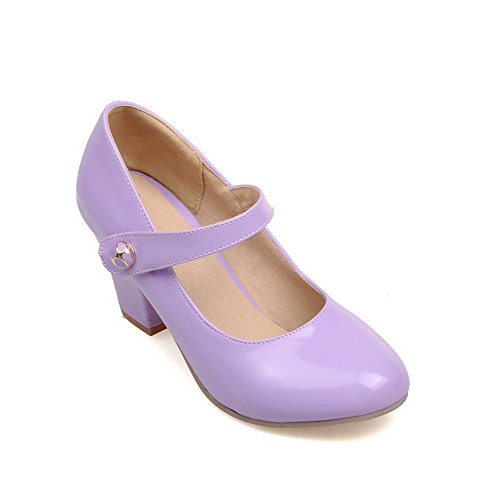 BalaMasa Ladies Chunky Heels Pull-On Round-Toe Purple Patent-Leather Pumps-Shoes - 6.5 B(M) US
