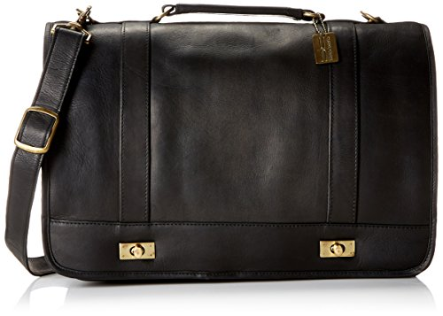 Claire Chase Leather Messenger Briefcase, Black, One Size ()