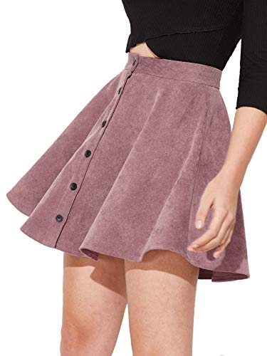 SheIn Women's Button Up Flare A-Line Corduroy Skater Cord Short Skirt (Large, Pink) ()