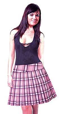 SenecaClothing Baby Pink and Black Printed Schoolgirl Tartan Plaid Pleated Long Skirt Baby Pink