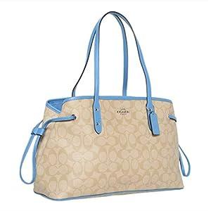 Coach Signature Drawstring Carryall Shoulder Bag (Light Khaki/Bring Blue)