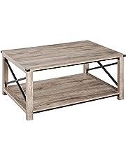 HOMCOM Industrial Coffee Table, Sofa Side Table with Bottom Storage Shelf, Metal X-Bar for Living Room Bedroom