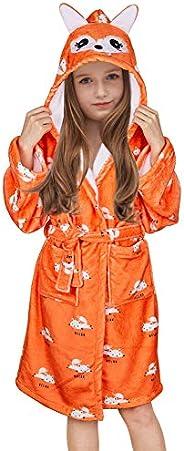 Beinou Unicorn Kid Robes Fleece Kid Bathrobe Flannel Sleepwear for Girls Soft Cotton Long Shower Robe