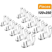 Jovitec 120 Pieces Rope Light Clips Holder Clear Plastic Clips Wall Mounting Clips and 250 Pieces 4 mm Screws