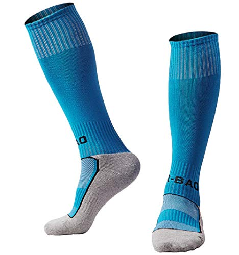 Kids Youth Soccer Socks Knee High Cotton Towel Bottom Sport Compression Long Tube Football Socks for Boys/Girls Sky blue
