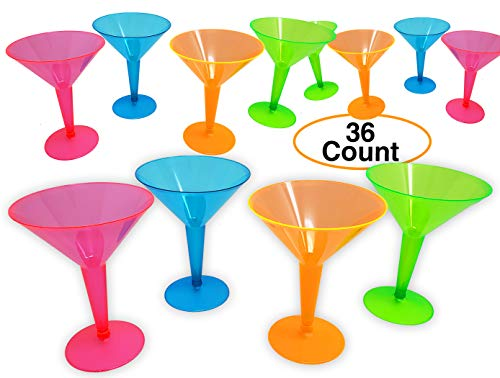 MARTINI Cocktail Glasses Plastic for Party Neon colors 8 OZ. Disposable & Durable (36 Pack)