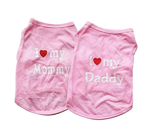 Vedem Pet T-Shirt Clothes Small Dog Cat Stripe Vest Tee Shirt Costumes (M, Pack of 2-Pink)