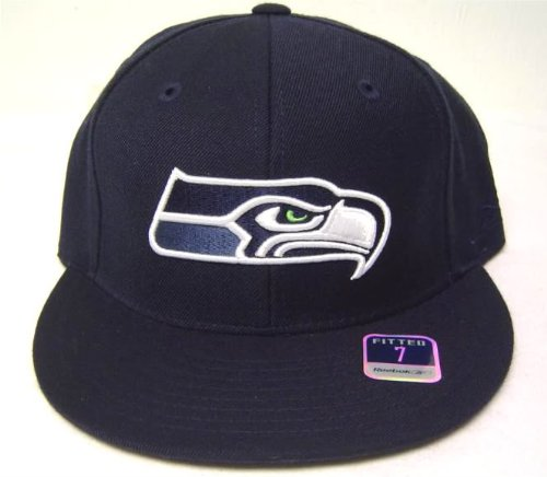 Embroidered Reebok Cap (Size 8 Navy NFL Seattle Seahawks 3D Embroidered Fitted Flat Bill Cap / Hat)
