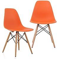 CozyBlock 2 Dsw-Ora-2 2 Molded Plastic Dining Shell Chair with Birch Wood Eiffel Legs, Set of 2 L x W x H, 20 L x 18.5 W x 31.5 H, Orange