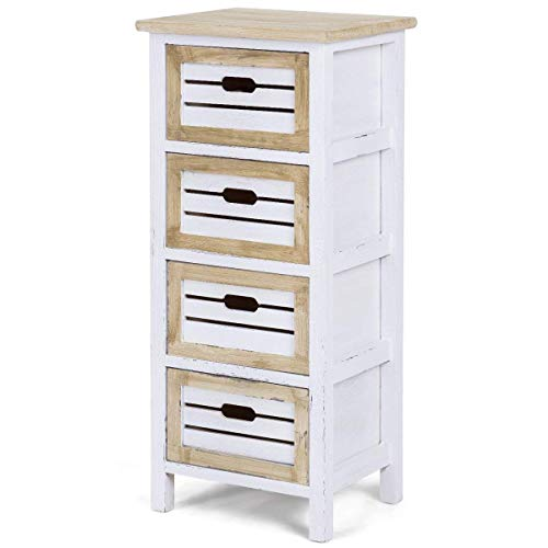 Casart Wooden Chest Nightstand End Table Bedside Table Cabinet Side with 4 Drawer