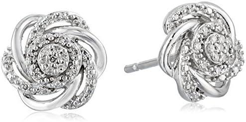 Sterling Silver Diamond 7 Stones Cluster Flower Stud Earrings