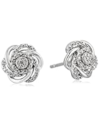 Sterling Silver with White Diamond Fashion Earrings (1/10cttw, I-J Color, I2-I3 Clarity)
