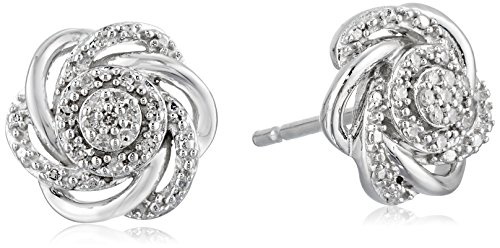 Sterling Silver Diamond Cluster Earrings