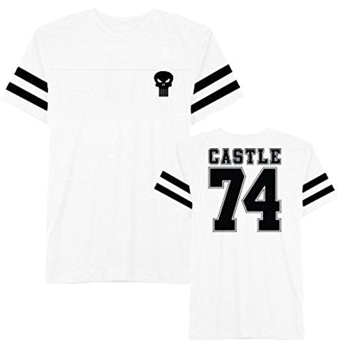 Hybrid Apparel Marvel Comics Punisher Logo Varsity Men's White Heather T-Shirt M ()