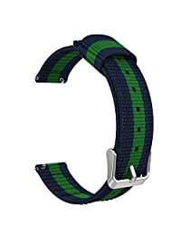 """Universal 18mm Quick Release Watch Band, MoKo Fine Woven Nylon Adjustable Replacement Strap for Huawei Watch 1st/Fit Honor S1, Asus Zenwatch 2 1.45"""", Withings Activite Pop/Pulse Ox, Blue & Green"""