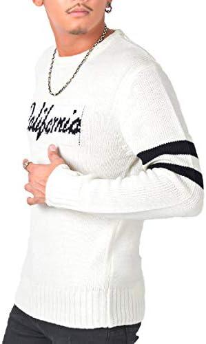 LUX STYLE(ラグスタイル) ニット メンズ セーター クルーネック ロゴ 袖ライン サーフ