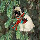 1 X Pug Miniature Dog Ornament - Fawn
