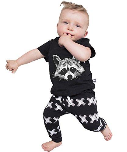 Newborn Organic Fox Baby Girls Boys Tops T-shirt+pants Leggings 2pcs Outfits Set (6-12 Months, Black&white)