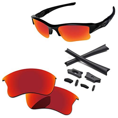 PapaViva Lenses Replacement & Rubber Kits for Oakley Flak Jacket XLJ Fire ()