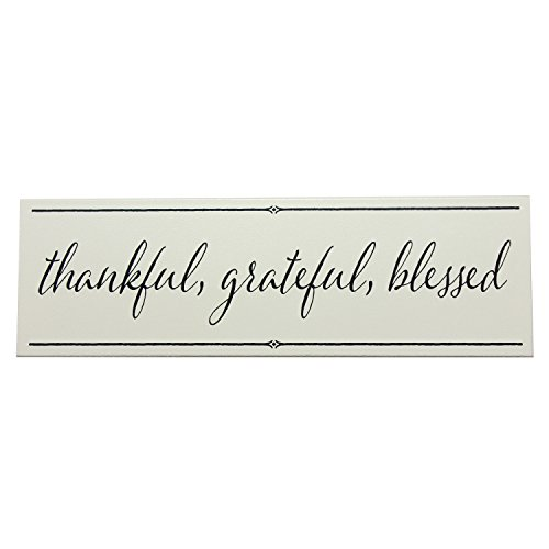 Blessed Plaque - My Word! Thankful, Grateful, Blessed-5 x 16, Taupe with Grey Lettering
